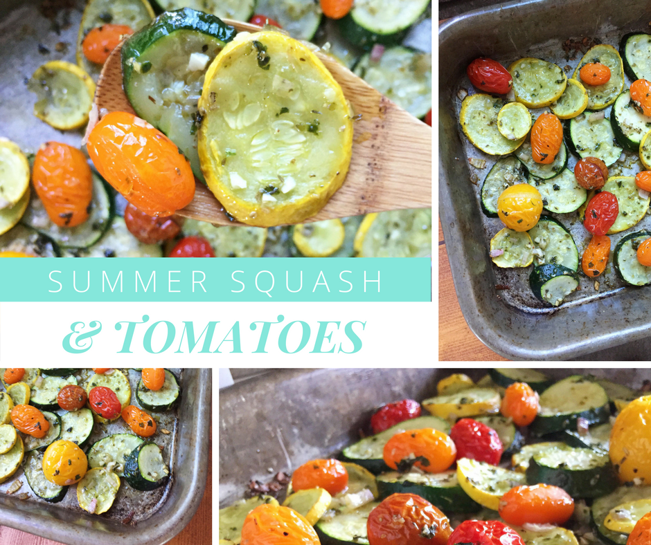 Shareable Facebook graphic roasted summer squash and tomatoes featuring roasted squash and tomatoes roasted on a sheet pan