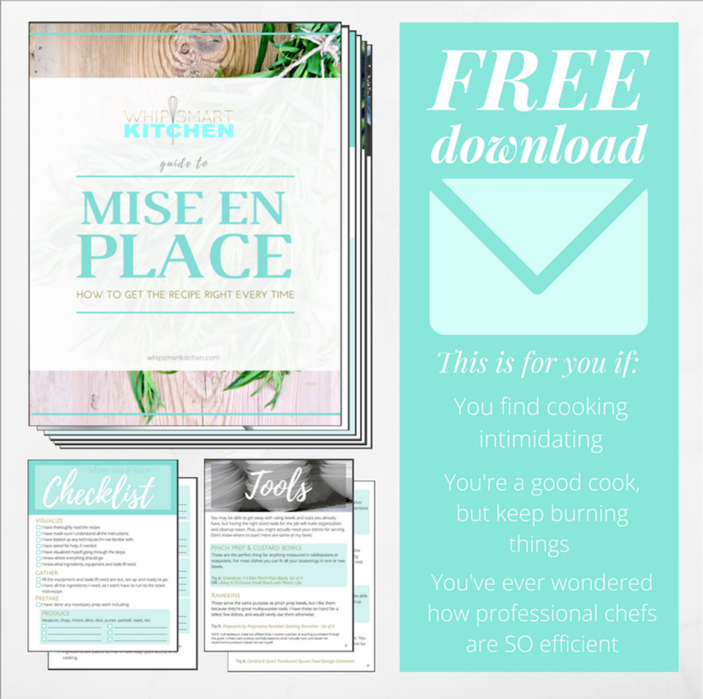 Graphic for the WhipSmart Kitchen Guide to Mise En Place free download