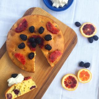 Blackberry Blood Orange Breakfast Cake with Blood Orange Whipped Cream and Fruit