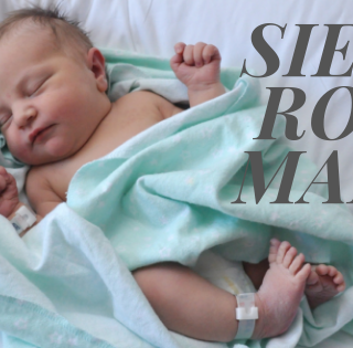 "Graphic of Siena Rose Marie as a newborn in a blue blanket with text overlay that says ""Siena Rose Marie"""