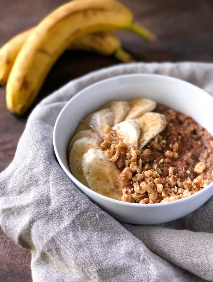 Banana nut steel-cut oats on a gray napkin
